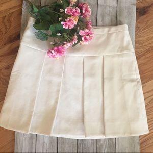 Pleated Cream J. Crew Skirt Size 12